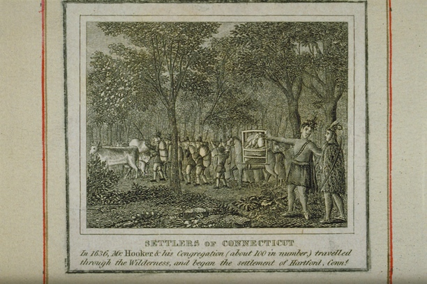 Settlers of Connecticut: In 1636, Mr. Hooker & his Congregation (about 100 in number) travelled through the Wilderness and began the settlement of Hartford, Conn. - Connecticut Historical Society and Connecticut History Illustrated