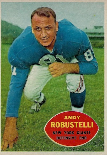 """Andy Robustelli, New York Giants, Defensive End"" from a 1960s TOPPS football card."