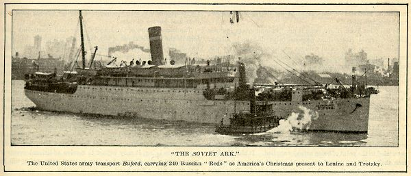 """The Soviet Ark"" : The United States Army transport Buford, carrying 249 Russian ""Reds"" Literary Digest, January 3, 1920 - Red Scare image database"