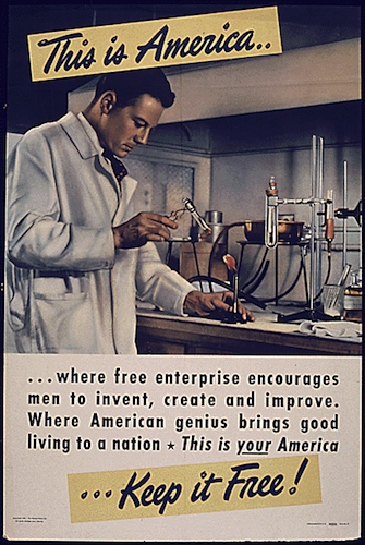 This is America...where free enterprise encourages men to invent, create, and improve... - World War II Posters, Office of War Information, National Archives