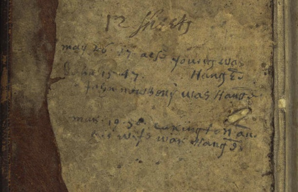 Detail from Matthew Grant's diary indicating the date Alse Young was hanged, May 26, 1647 - Connecticut State Library, State Archives, RG 000 Classified Archives, 974.62 W76gra