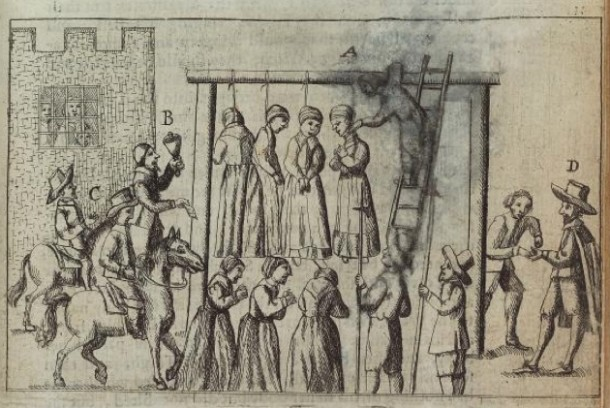 """Detail from the book, England's grievance discovered, in relation to the coal-trade... by Ralph Gardiner, 1655,  """"Many poor women imprisoned and hanged for witches"""" -  New York Public Library Digital Collections, Rare Book Division"""