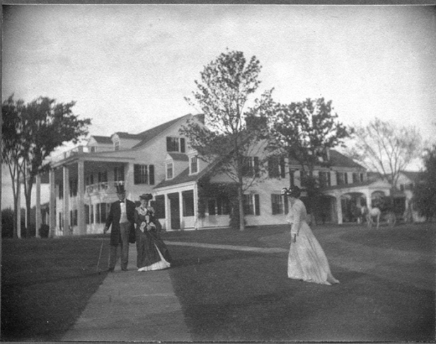 Gertrude Käsebier photo, of Ada, Alfred and Theodate Pope on their West Lawn walkway, ca. 1902 - Hill-Stead Museum