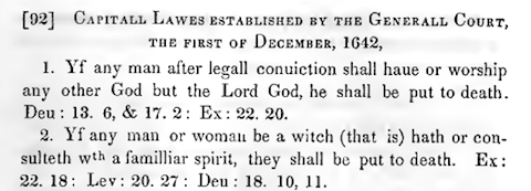 Detail from The Public Records of the Colony of Connecticut, Prior to the Union with New Haven Colony May 1665... showing the law against being a witch established in December, 1642.