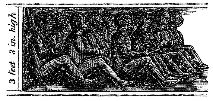 An illustration depicting the position of Cinque and his companions on board the slaver during their passage from Africa, from John Warner Barber's book A History of the Amistad Captives:...""