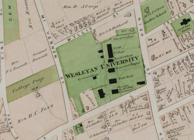 Detail of Wesleyan University from the County Atlas of Middlesex, Connecticut : from actual surveys by F.W. Beers, 1874. Note the location of the Gymnasium.