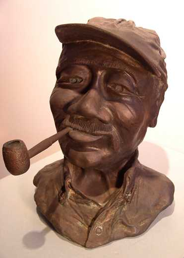 Bronze portrait of Ellis Ruley by his biographer, Genn Palmedo-Smith (gift of the artist) - Courtesy and collection of theSlater Memorial Museum
