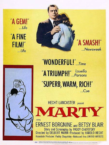 Advertisement for the film Marty starring Ernest Borgnine and Betsy Blair, 1955
