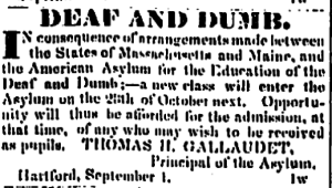 An advertisement for the Connecticut Courant for the Asylum for the Education of the Deaf and Dumb, September 8, 1829
