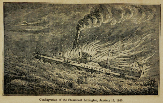 """Conflagration of the Steamboat Lexington, January 13, 1840"" from Steamboat Disasters and Railroad Accidents in the United States by S. A. Howland, 1846."