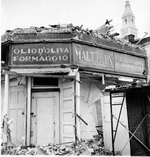 Demolition of Italian products store, Front Street and Market Street, Hartford - Hartford Public Library, Hartford History Center