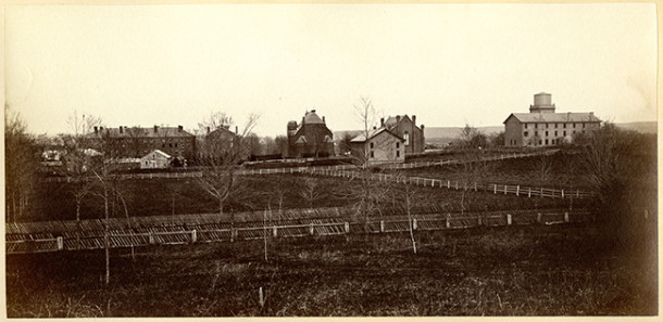 Photo by an unknown photographer of what would later be called Andrus Field taken from Foss Hill, circa 1872 - Wesleyan University, Olin Library, Special Collections & Archives, Arthur Benton Sanford Class of 1872 album