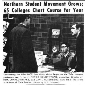 Discussing the NSM-SNCC fund drive which began on the Yale campus are (l. to r.) Peter Countryman, executive director of the NSM, Donald Dripke, and David Rosenberg, 1963... (Photo by G. B. Osborne) - Yale Daily News, no. 40, November 9, 1962