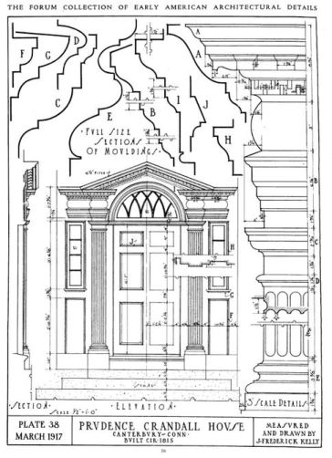 Early American Architectural Details, Plate 38, March 1917, Doorway of the Prudence Crandall House, Canterbury, Conn. Measured and Drawn by J. Frederick Kelly as illustrated in The Architectural Forum magazine, volume 26, 1917.