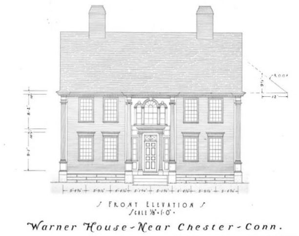 Warner House, Near Chester, Conn. Measured and Drawn by J. Frederick Kelly as illustrated in The Architectural Forum magazine, volume 33, 1920.