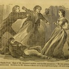 """Illustration of """"The Family Feud. Rage of Mr. Sherman's mother, and terrible accusation -""""He was poisoned."""", from the book The Poison Fiend! Life, Crimes, and Conviction of Lydia Sherman... by George L. Barclay, 1873."""