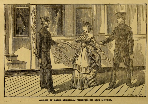 "Illustration of the ""Arrest of Lydia Sherman"" from the book The Poison Fiend! Life, Crimes, and Conviction of Lydia Sherman... by George L. Barclay, 1873."