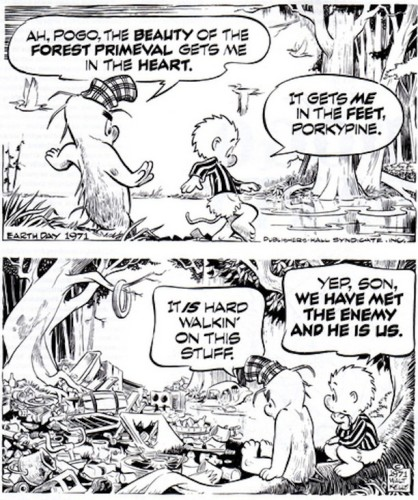 A 1971 Earth Day comic strip written and illustrated by Walt Kelly, featuring Pogo and Porkypine.