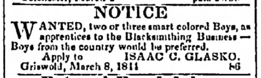 """Notice"" placed by Isaac C. Glasko in New London's People's Advocate, March 13, 1844."