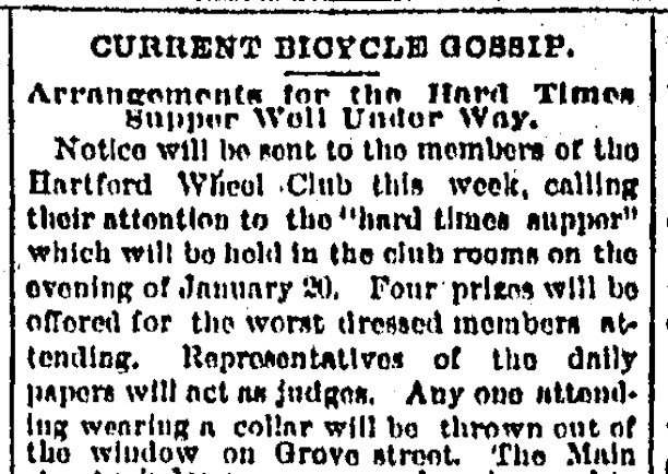 "Detail from The Hartford Courant article ""Current Bicycle Gossip: Arrangements for the Hard Times Supper Well Under Way,"" January 10, 1893."