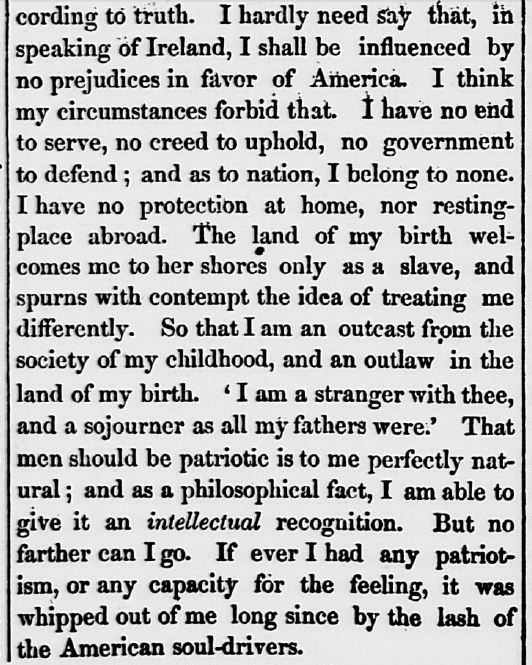 Detail from a letter written by Frederick Douglass to the Boston Liberator from the Victoria Hotel, Belfast, Jan. 1, 1846 and reprinted in The Charter Oak, February 12, 1846.