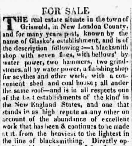 "Detail of an advertisement offering ""For Sale"" the business establishment of Isaac C. Glasko, Griswold, Connecticut. Printed in the Norwich Courier, March 26, 1828, page 4."