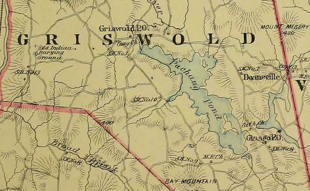 Detail of Griswold with the area of Glasgo denoted from the Town and city atlas of the State of Connecticut, Boston: MA: D.H. Hurd & Company, 1893 - University of Connecticut Libraries, Map and Geographic Information Center (MAGIC)