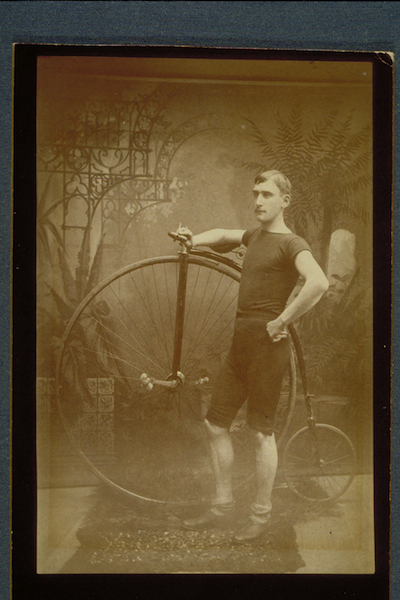 World Traveler and lecturer , W.H. (Billy) Rhodes, Charter Member Hartford Wheel Club, 1886 - Connecticut Historical Society