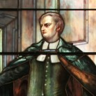 Detail from a stained glass window depicting Thomas Hooker, Center Church, Hartford,  by Louis Comfort Tiffany, ca. 1900s.