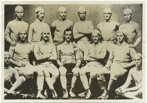 """""""First Yale team playing under American intercollegiate foot ball rules. This team won from Harvard in the fall of '76."""" Walter Camp is the second player top left - The New York Public Library Digital Collections"""