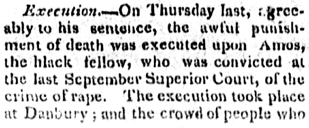 Detail of Amos Adams' execution from an article in the Connecticut Journal, New Haven, Connecticut, November 25, 1817.
