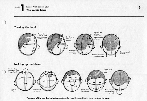 Famous Artists Cartoon Course, The Comic Head