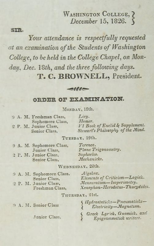 Broadside - Washington College, December 15, 1826.