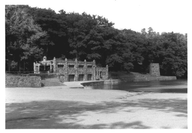 Bathhouse and slide tower, lagoon, Rockwell Park, Bristol, Connecticut