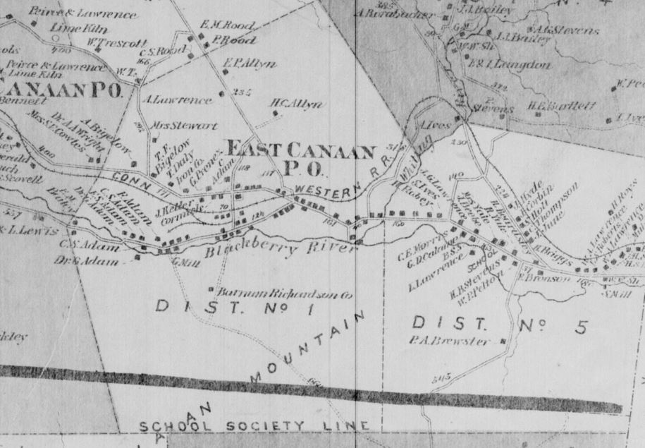 Detail from the map North Canaan & Canaan, Petersen Collection, ca. 1850s