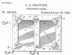 Patent application for a Stretcher Frame, June 16, 1885