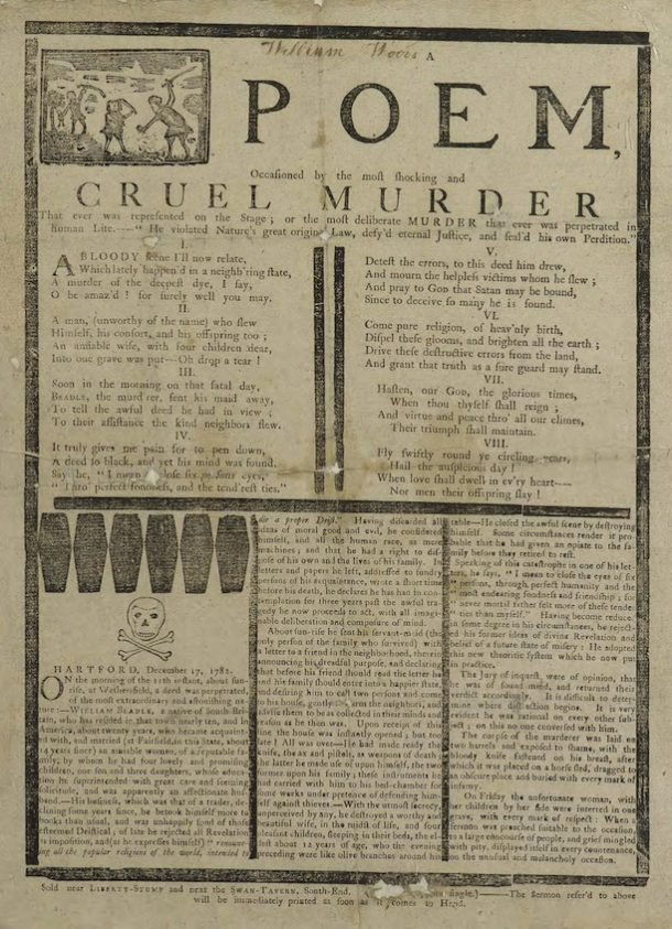 Poem relating the Beadle murders