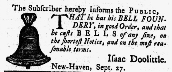 Advertisement for Isaac Doolittle's bell foundry