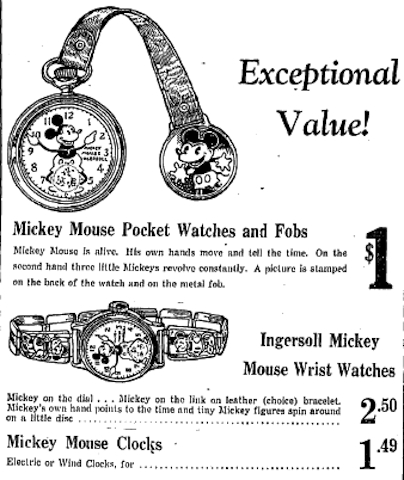 Advertisment for the new line of Mickey Mouse clocks and watches from Ingersoll Waterbury Clock