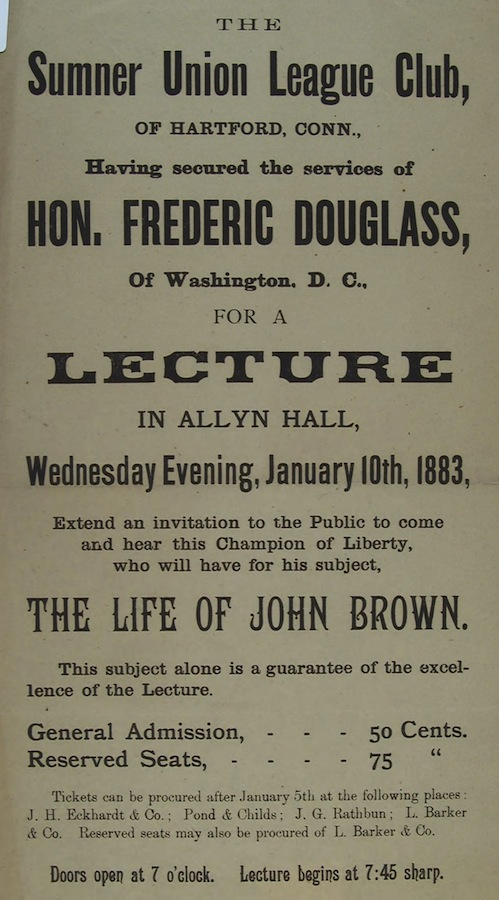 Poster for a lecture Douglass gave in Hartford in 1883