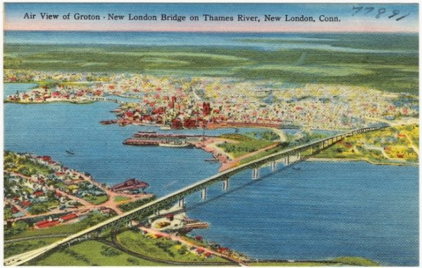 Postcard of New London Bridge on Thames River, New London, Conn.
