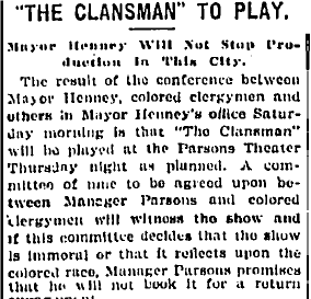 "Mayor Henney allows ""The Clansman"" to play in Hartford."