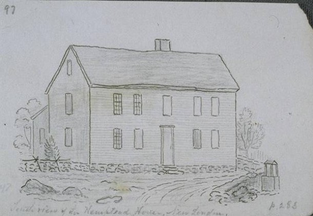 John Warner Barber, South view of the Hempstead house, New London, 1836