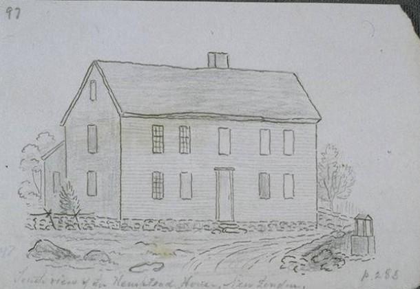 John Warner Barber, South view of the Hempstead house, New London, 1836