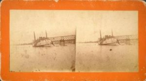 The City of Hartford steamboat after collision with railroad bridge