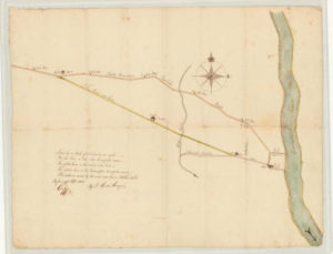 Map showing a newly laid road in relationship to the Talcott Mountain Turnpike
