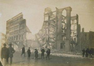 Ruins of commercial buildings on Grand Street, Waterbury