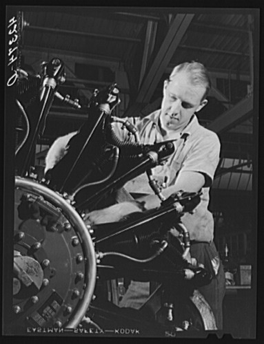 A worker on the final assembly of a WASP engine