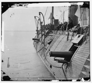 Effect of Confederate shot on the USS Galena, 1862