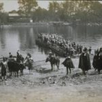 A 1908 reenactment of Thomas Hooker's 1636 landing in Hartford